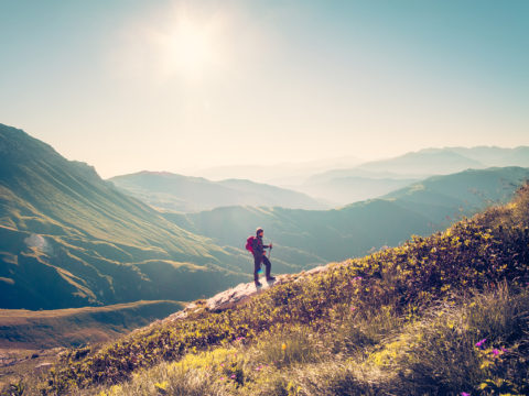 Single Man Hikes Mountains In California